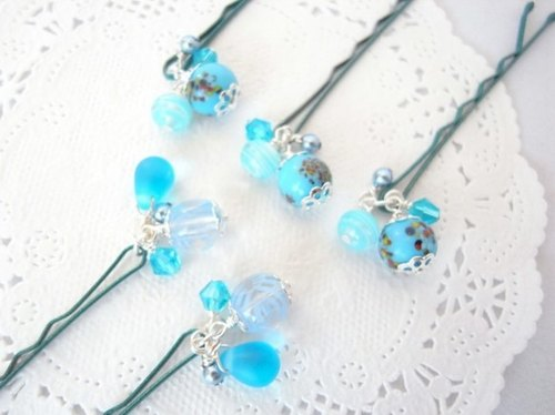 Such a light blue beads of hairpin five set summer festival of the yo-yo