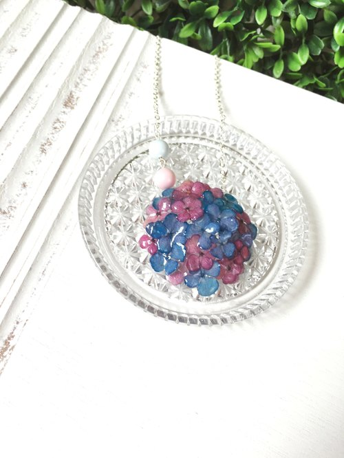 *Haku‧Neko*dark pink x stereo mini blue hydrangea necklace (real flowers series)