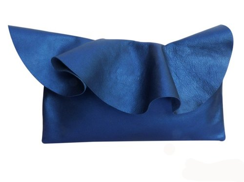 Leather Ruffle Clutch Bag (L-size) in Petrol by Vicki From Europe