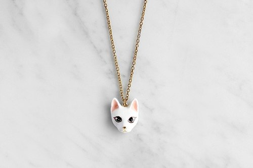 Mali White Cat Necklace