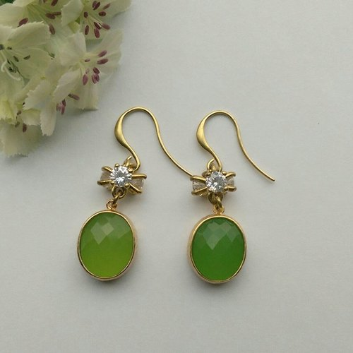 Candilicious grass green natural stone CZ Earrings