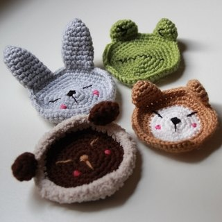 Amigurumi crochet doll: Coaster set, Rabbit, Frog, Bear, Sheep
