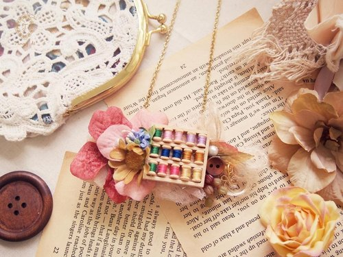 Tammy St. original hand-made grandmother's old wooden house five series multi-color line hairpin jewelry necklace