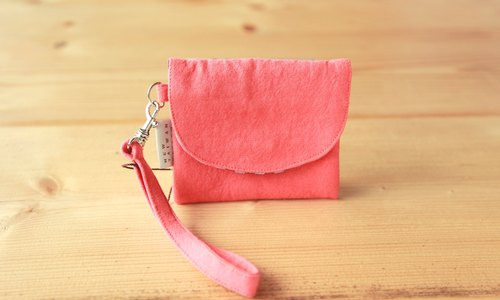 [Short clip purse] Christmas exchange gift selection - washed canvas red