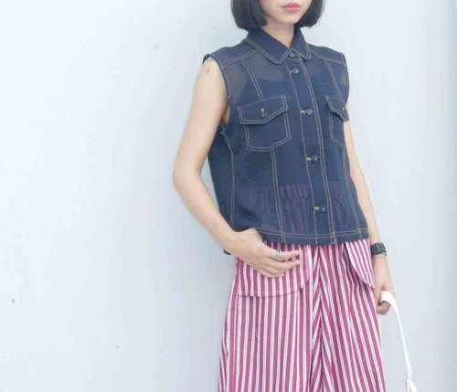 4.5studio- paddy rice to Geocaching vintage - dark blue uniforms Crimping sense of perspective sleeveless shirt