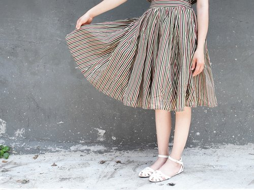 OMAKE original Indian cotton silk printed skirt (stripe)