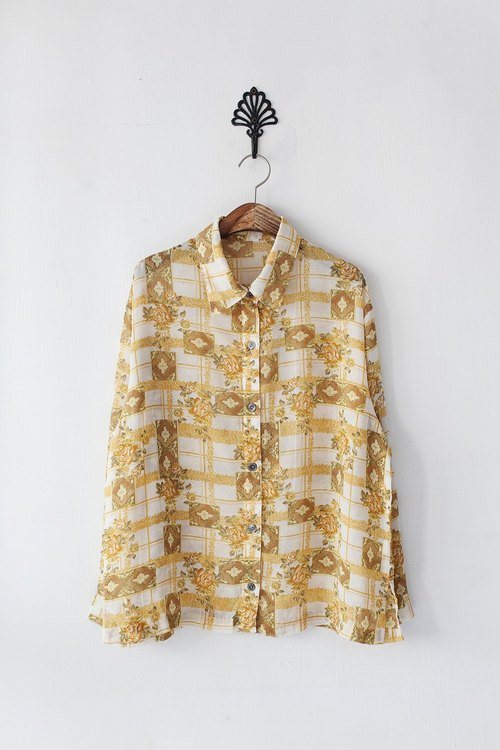 Banana Flyin '| Vintage | Japanese Yellow Rose long-sleeved shirt