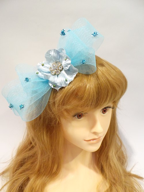 Large mesh hat hair bow -Lisa-Snail Design