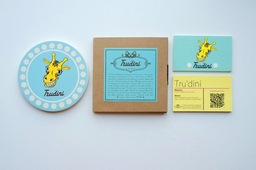 Tru'dini giraffe wreath ceramic coasters