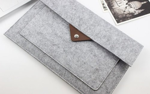 Genuine Pure Handmade Light Gray Felt Microsoft Computer Case Felt Set Trolley Case Bags Surface Pro (2017) & Keyboard (Customizable) - ZMY028LGSP3