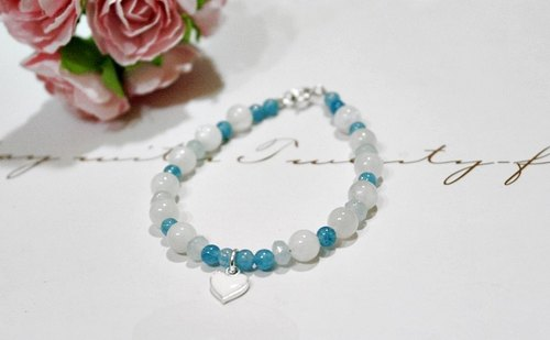 Natural stone bracelet _ x silver coin can be changed infinitely elastic bracelet blue // // - Moonstone -