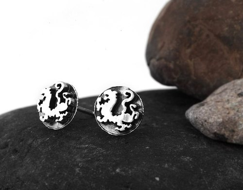 China Sishou Beast Series: White Tiger Earrings Sterling Silver Earrings (Single)-ART64