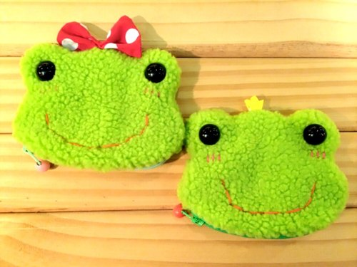 RABBIT LULU fluorescent green frog purse. Gift ideas pure hand-sewn market