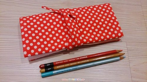 Scrim red circle little pop style pen brush pen pouch bags