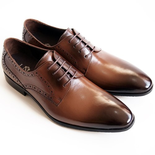 [LMdH] D1A24-89 calf leather with carved wooden Derby Shoes - brown - Free Shipping