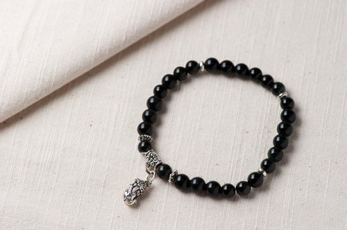 [Lucky] Woody'sHandmade. Brave Lucky bracelets - obsidian. Prosperity - Black Obsidian with pí xiū (Charm version)