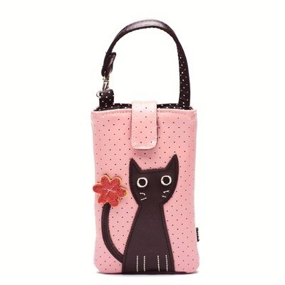 Noafamily, Noah big eyes cat with flowers, cell phone bag (iPhone 6 6S SE) _PK (J443-PK)