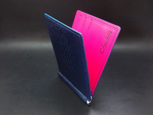 APEE handmade leather money clip ~ ~ ~ Croco dark blue / pink