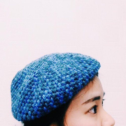 ♡ Duplex ♡ hand-made knitted blue is the warmest color beret
