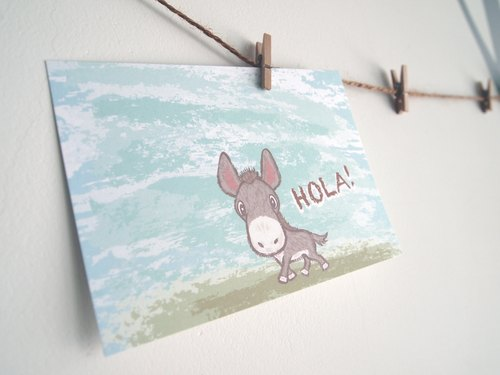 Postcards -! Hola small donkey