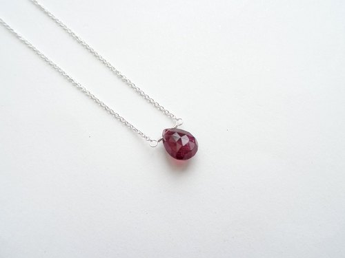 :: Daily Jewels :: single drop section Tourmaline Tourmaline Silver bare sense necklace / clavicle chain (pink, large)