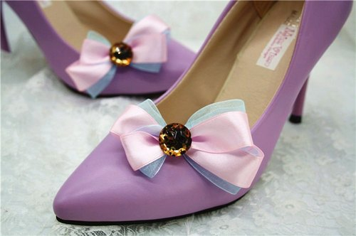 Pink Leopard fight flash blue ornaments cute princess shoes decorated bow jewelry temperament bride wedding shoe heels