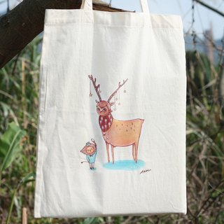Hand-painted bag - when the small lion encounter deer