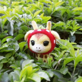 [羊乐多X wool felt] strawberry giraffe mobile phone strap earphone plug