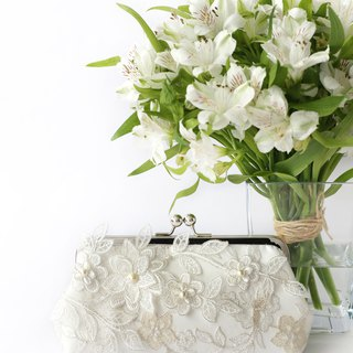 Bridal Clutch with Magnolia Flower Vine Lace in Ivory