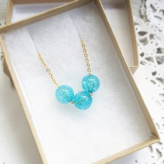 """LaPerle"" blue lake Shuijingjiao necklace 16k gold-plated brass bead necklace Handmade Christmas gifts"