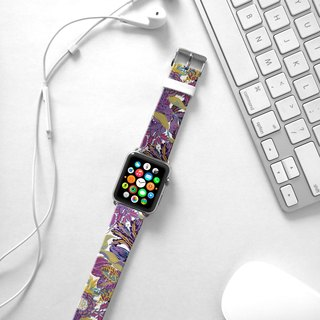 Apple Watch Series 1 , Series 2, Series 3 - Purple Floral Watch Strap Band for Apple Watch / Apple Watch Sport - 38 mm / 42 mm avilable