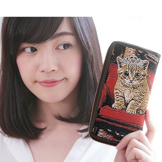 [Blogger Taiwan plum buns + Share subsection Germany] jacquard woven Videos long leather folder Princess Meow