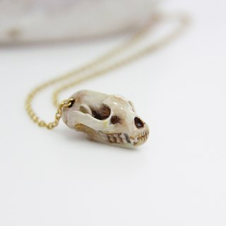Badger Head Skull Pendant / Hand-Painted Color Enamel / Wolf Skull Pendant / Metal Work Necklace
