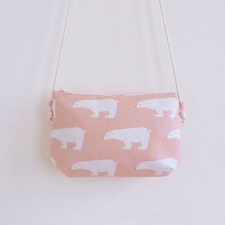 Hand-sewn pink polar bear with small oblique shoulder cloth bag