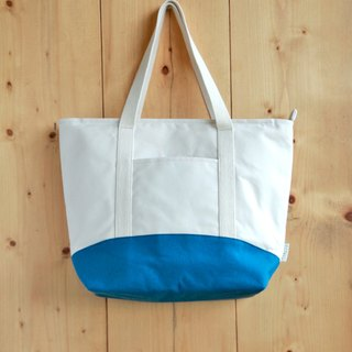 [Early spring shoulder bag] canvas white rice blue