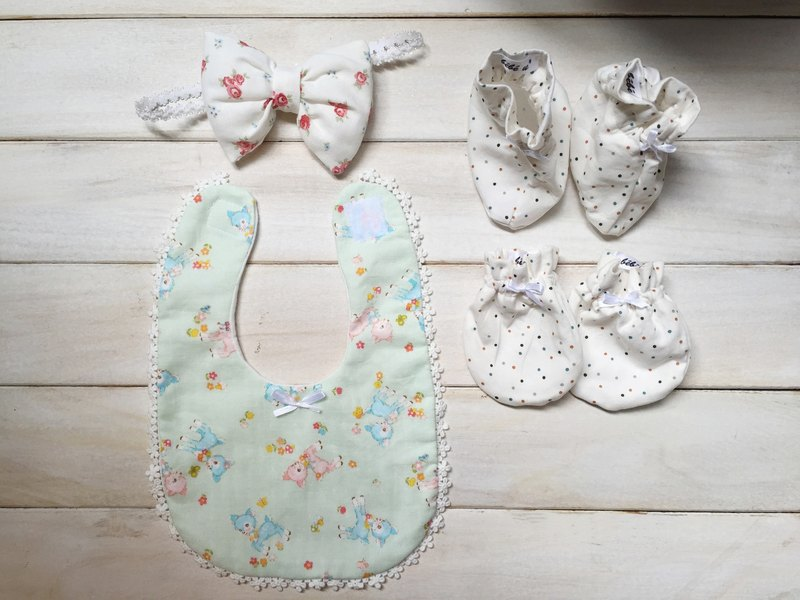 Japanese hand-made fabric pattern newborn fawn female births month old baby gift package attached