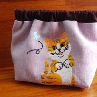 Meng cat embroidery shrapnel gold deposit bag wallet (embroidered in English name please note)