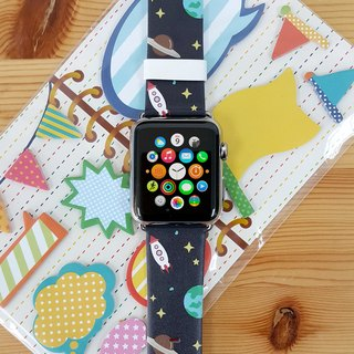 Apple Watch Series 1 , Series 2 and Series 3 - 可愛太空地球圖案 Apple Watch 真皮手錶帶38 / 42mm ,100%香港設計及製作 - 72
