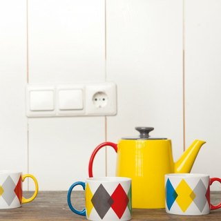 Jansen + co color teapot - yellow + carbon gray + red