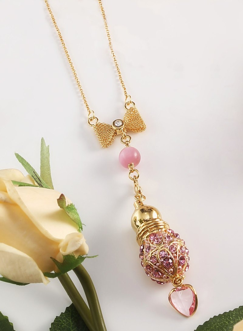 Neve Jewelry love pink perfume bottle necklace (pink / gold)