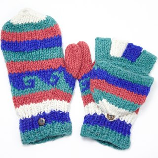 Valentine limit a knitted pure wool warm gloves / 2ways Gloves / Toe gloves / bristles gloves / knitted gloves - blue Red national totem