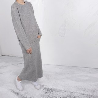 Gao fruit / GAOGUO original designer women's brand gray cashmere thick double-sided fabric skirt suit jacket