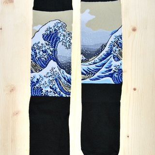 JHJ Design Canadian brand of high saturation knitting socks Ukiyo-e Series - The Great Wave off Kanagawa socks (knitted socks) Japanese style