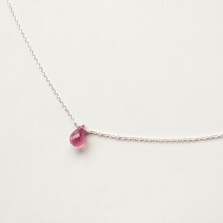 Journal ruby ​​/ semi-precious stones bare skin rainbow silver necklace collarbone