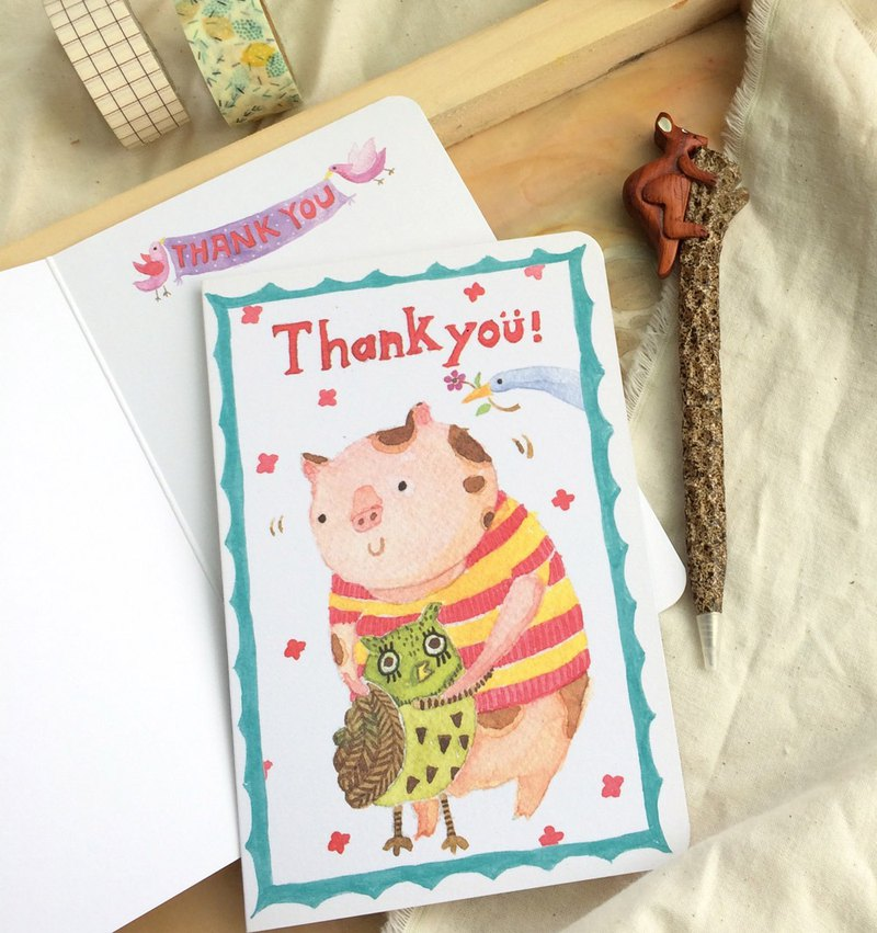 Universal Card -Thank you (thank you card, pigs and owls hug)