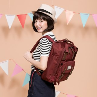 Doughnut Waterproof Macaron Backpack - Wine Red