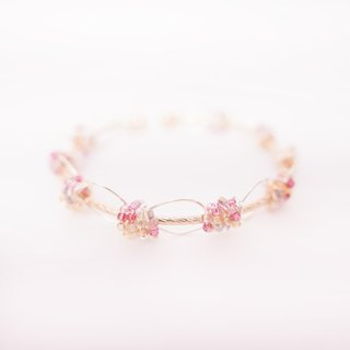 Handmade Rose Pink Beads and Wire Bangle/Bracelet