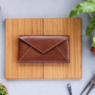 Shekinah handmade leather - envelope with magnetic clip long clip
