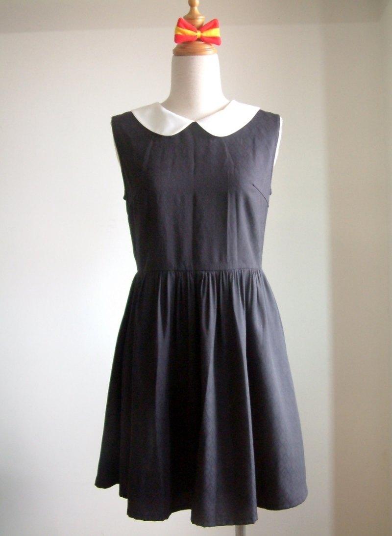 復古無袖洋裝-黑色