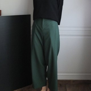 Forest green retro wide pleat pants